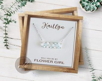 Flower girl necklace, Bridesmaid proposal necklace, Dainty silver necklace, Minimalist silver necklace, Stacking Swarovski crystal necklace