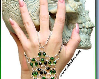 Harem Dancer Chainmaille Hand-Star, Handflower hand bracelet. Slave bracelet for belly dance in chainmail