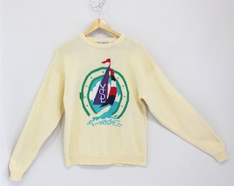SALE**Vintage Clothing • Rare 1980's Yves Saint Laurent Sailboat • Crewneck Knit Sweater • Perfect Condition • 100% Cotton