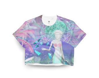 Vaporwave croptop tee shirt, vaporwave clothing, vaporwave shirt, sea punk shirt, vaporwave fashion, seapunk clothing, aesthetic fashion ッ