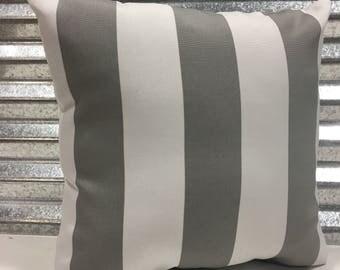 Awning Stripe Gravel 18x18 Outdoor Pillow