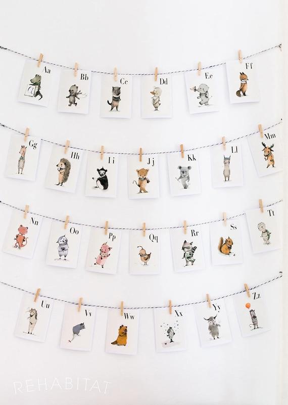Animals Alphabet Wall Cards - Alphabet Nursery Art, ABC Flash Cards, Kids Wall Art, Alphabet Animal, Letter Wall Art,  SET 26 Prints