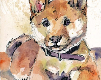 Such Doge Much Watercolor Wow - Shiba Inu Print - Dog Home Decor - Watercolor Shiba Inu Reproduction - Doge Meme Art by Jen Tracy - Memes