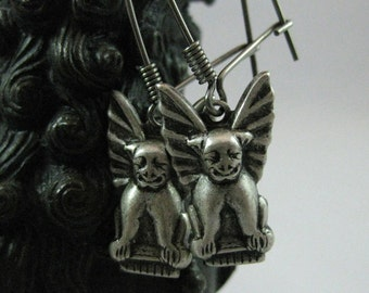 Gargoyle Earrings Vintage Silver gargoyle protection amulets protection symbols gothic lion goth earrings hand the queens dowry medieval