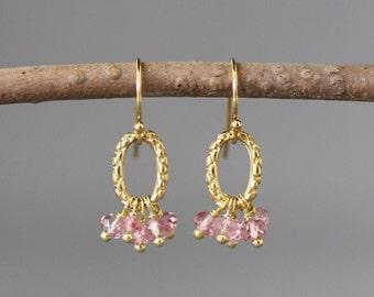 Pink Quartz Earrings - Pink Dangle Earrings - Mystic Quartz - Gold Vermeil Earrings - Wire Wrapped Earrings Gold - Pink Gemstones - Gift