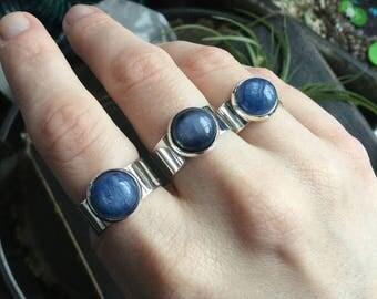 Kyanite Ring, adjustable large band ring, Blue Kyanite
