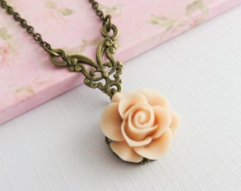 Peach Flower Necklace, Rose Pendants, Bridesmaids Gift, Romantic Jewelry, Country Chic Wedding Jewelry, Rustic Necklace