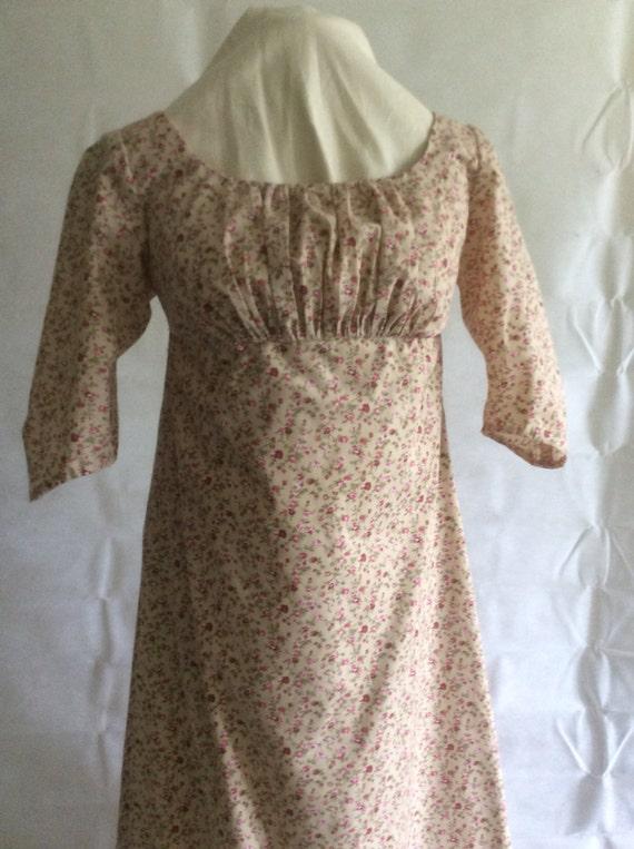 Regency Dress, Gown. Jane Austen. Beige/Dusky Pink cotton print.