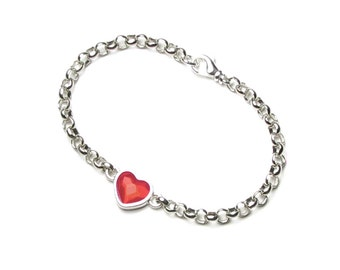 Valentine's Day Swarovski Crystal Red Heart Silver Bracelet Romantic Anniversary Love Jewelry for Women Wife Girlfriend Teen Date Gift Boxed