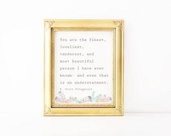 F.Scott Fitzgerald Quote-Printable Quote, Art Print, Printable Intention, Wall Art, Printable Gift, Digital Download, Digital Print
