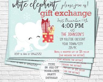 white elephant invitations  etsy, Party invitations