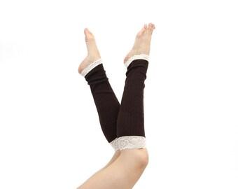 Womens Leg Warmers, LegWarmers, Boot Socks Toppers, Long Leg Warmers, Lace Leg Warmers, Brown Knee High Socks Yoga Gift for Her, Womens Gift
