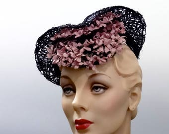 Hattie Carnegie Black Straw Tilt Hat Percher  Black Straw with Pink Flower Trim WWII Hat Fashions 1940's