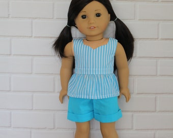 Aqua White Stripe Peplum Top Blue Shorts Dolls clothes to fit 18 inch dolls to 20 inch dolls such as American Girl & Australian Girl dolls