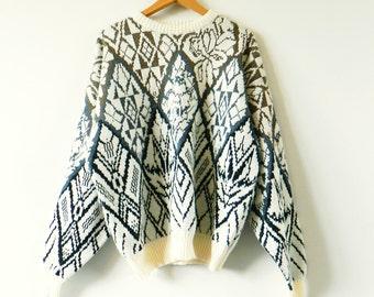 Rad Geometric Floral Oversized Sweater / Men's Vintage GITANO Sweater / XL 80s Slouchy Sweater