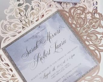 Glitter Wedding Invites - Custom layered glitter and laser cut wedding invite sample {Dahlia design - Sku: DahBar01}
