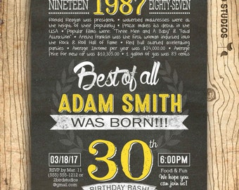 30th birthday invitation- Surprise 30th birthday invite - DIY printable invitation for 30th milestone birthday party - poster to match