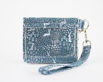 Rabbit Wallet, Bunny Wristlet Wallet, Bifold Wallet, Small Wallet, Blue, Orange, and Gray Cotton Fabrics, Handmade