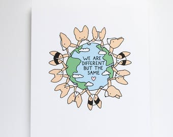 Corgi World Art Print, 8x10 Print, Corgi Print, Teacher Gift, School, Classroom, Cute Print, Unity, Different But The Same