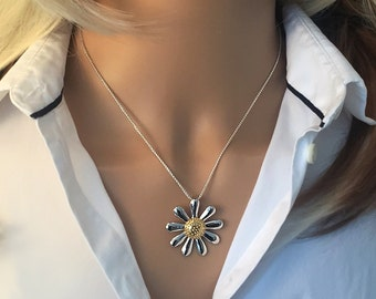 Silver Daisy Necklace (30mm size), 925 Silver with 18ct Gold Plated Centre
