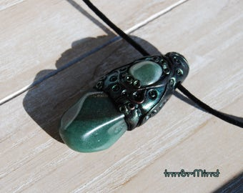 Green Aventurine Pendant Necklace Fantasy Forest Necklace Luck Protection Unisex
