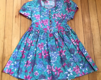 Vintage 1980s Girls Pink Floral Dress! Size 4-5