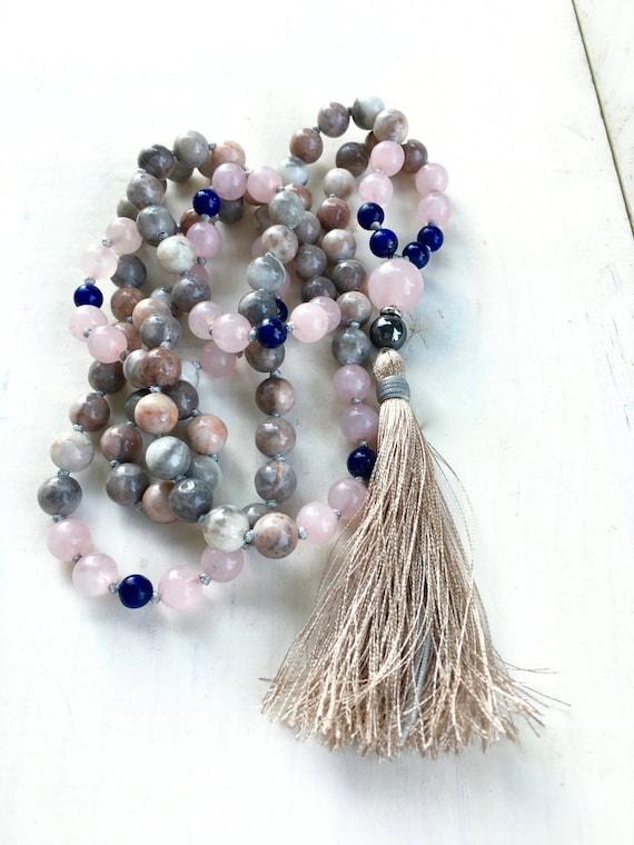 Friendship Mala, Lapis Lazuli And Jasper Mala Beads, 108 Bead Mala, Mala Beads For Harmony, Yoga Meditation Beads, Gemstone Mala