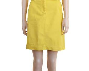 Vintage Jean Skirt, Vintage Yellow Skirt, Women's Skirt, Women's Clothing, Cotton Skirt, Spring Fashion, Knee Length Skirt, J. Crew Skirt