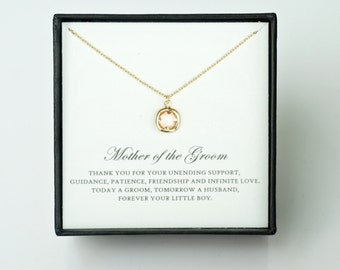 Mother of the Groom Gift from Son - Gold Glass Necklace & Thank You Card, Wedding Jewelry Gift/ Wedding Day Mom Gift/ Mother of Groom Gift