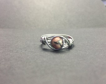 Pink Rhodonite with Black Oxide Wire Wrapped Ring