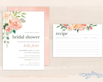 Printable Peach Bridal Shower Invitation Set Recipe Card Blush Rose Watercolor Modern Garden Spring Floral Bridal Shower Invitation Suite