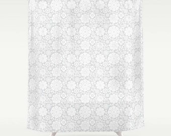 Floral Bath Curtain, Large Shower Curtain, Grey and White, Flowers Bath Curtain, Pattern Shower Curtain, Shower Curtain 71x74