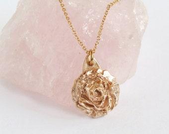 Rose Pendant Necklace, Unique Handmade Gold Bronze Artisan Jewelry, Romantic Nature pendant, 8th Anniversary/Birthday/Wedding Gift for her