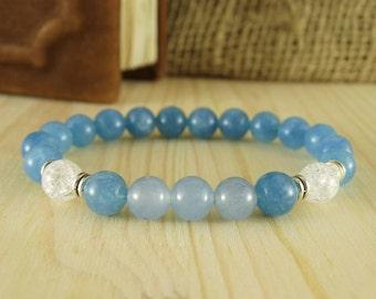 Womans bracelet delicate bracelet light blue bracelet crystal bracelet bead bracelet gemstone jewelry meditation bracelet birthday gift