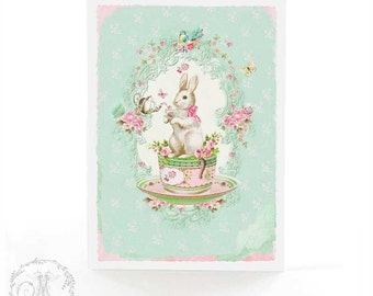 Rabbit card, Easter card, card for baby, tea party, birthday card, all occasion, blank card