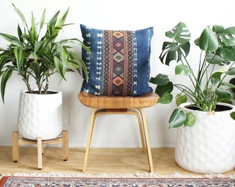 Kilim Pattern, Vintage Indigo Tie Dye, Kilim Pillow Cover, Linen Lumbar Pillow, 20x20, Rose Gold, Bohemian Decor, Tie Dye Pillow, Boho Home