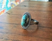Royston Turquoise Sterling Silver Ring - size 7 - boho jewelry ponderbird
