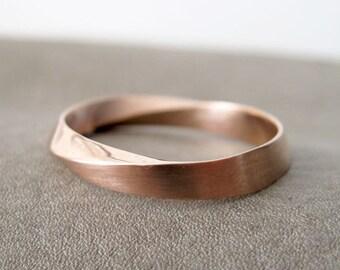 Rose Gold Mens Wedding Band, Unisex Mobius Wedding Ring, 18k Rose Gold Wedding Ring, Mobius Wedding Band, 4.5mm Mobius Modern Wedding Band