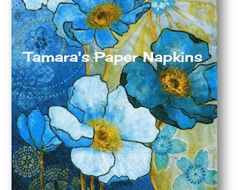 4 Decoupage Napkins, Single Paper Napkins, HARMONY BLUE FLORAL Party Napkins 33cm 13 Inch. 2000 Designs for Papercraft, Visual Arts Collage