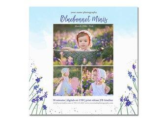 INSTANT DOWNLOAD, Mini Session Photography Template, Marketing Template, Kids, Watercolor, Simple, Elegant, Blue bonnet, Lavender, Violet