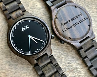Engraved Wood Watch, Wooden Watch, Gift for him, Mens Wooden Watch, Wedding Gift, Anniversary Gift, Groomsmen Gift, Wood Watch, Gift for Dad