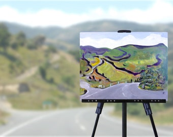 Original Landscape Painting, New Zealand roads, green hills, semi-abstract painting on canvas, wall art, free shipping