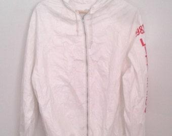 Vintage 1981 Little 500 IU Indiana University White Paper Thin Hooded Windbreaker Jacket Sz Large Cycling Breaking Away