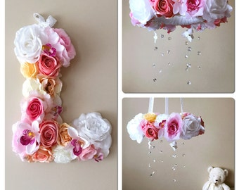 "Baby mobile and matching 14""/35 cm flower letter, Floral mobile, Floral letter, Crystal mobile, Nursery decors, Crib mobile, Matching decors"
