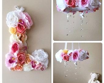 "Baby mobile and matching 14""/35 cm flower letter, Floral mobile, Floral letter, Genuine Swarovski crystals, Nursery decors, Crib mobile"
