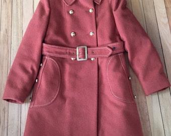 Vintage 1960s Girls Burnt Orange Wool Winter Coat! Size 8-10