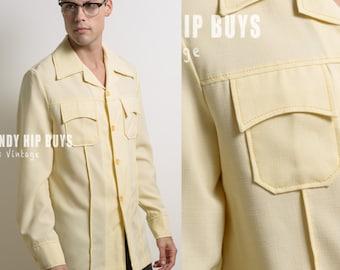 Men's Vintage shirt, Men's 70s shirt, Men's yellow shirt, Vintage yellow shirt, 70s yellow shirt, Men's Dress shirt, Hipster shirt - L