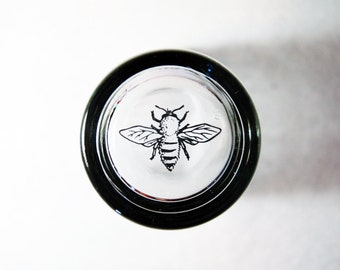 Bee Pint Glasses // Pint Glasses with Bee Image on the Bottom // Honey Bee Barware and Drinkware // Glass Goat at River Road Farm //