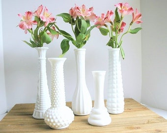 Vintage White Milk Glass Bud Vase Instant Collection, Set of Five, Wedding Milk Glass