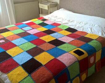 large vintage mid-centuries granny square crochet blanket 145-245 cm, afghan blanket